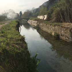 Canale Lunense nei prossi di Località Nave a Sarzana. Pista ciclabile pedonale sul lato sinitro. Vegetazione fitta sul lato destro e fumo sullo sfondo.