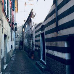 Via Rossi Sarzana con facciata di destra in pietra bianca e nera in stile classico ligure. Pavimentazione in sampietrini. Tratto angusto con portoni su ambo i lati. Location Scout duzimage