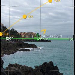 Screenshot dell'app SunSurveyor per visualizzare il percorso del sole a Tellaro - Location Scouting Italia - duzimage