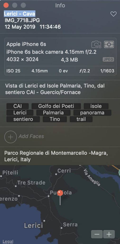 screenshot schemata metadati foto scattata con iPhone ed editata con Photos per indicizzazione