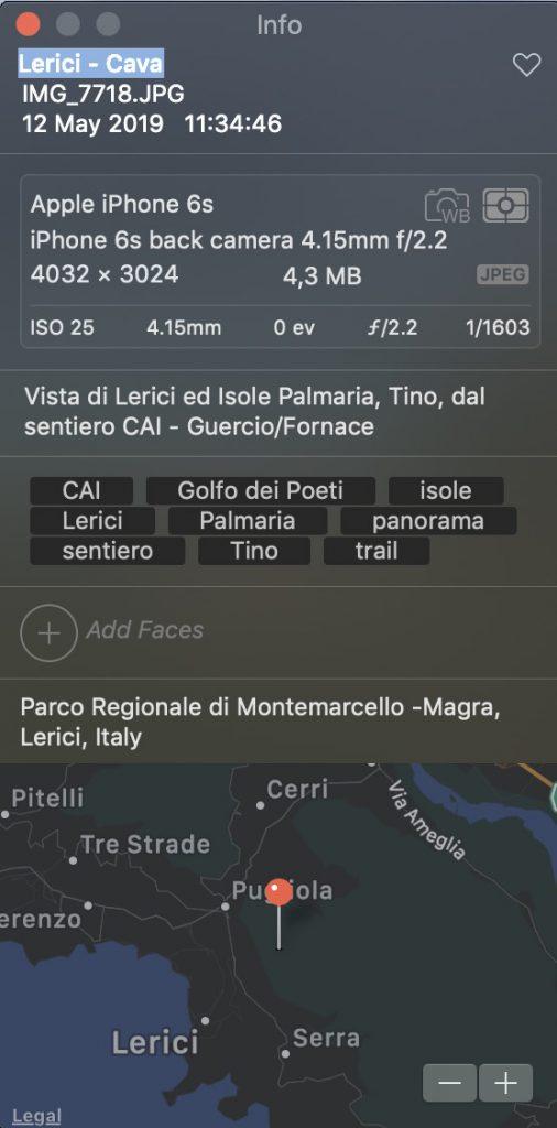 screenshot schemata metadati foto scattata con iPhone ed editata con Photos per indicizzazione