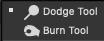 screenshot delle icone scherma e brucia in Photoshop