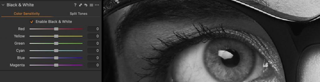 screenshot del pannello bianco e nero in Capture One Pro